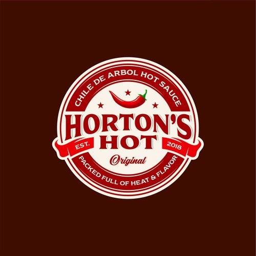 Sauce logo with the title 'Logo concept for Horton's Hot spicy sauce'
