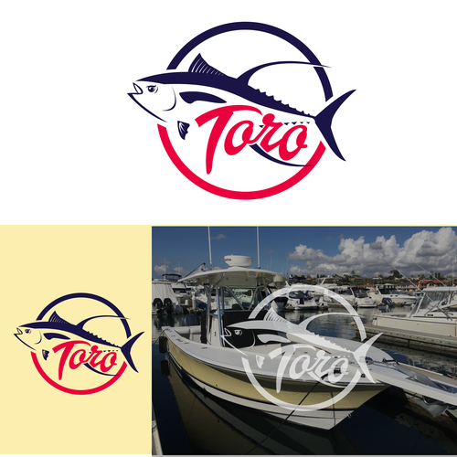 Fishing boat logo with the title 'toro'