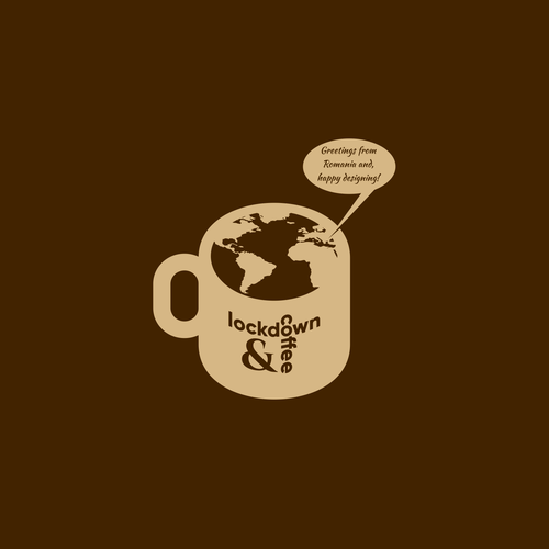 Orange and brown design with the title 'lockdown & coffee'