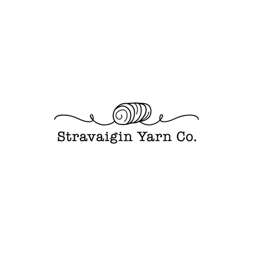 Typewriter logo with the title 'Feminine Modern Yarn Company Logo'