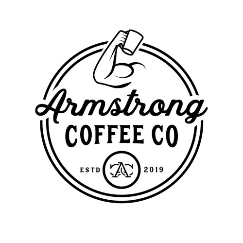 Coffee roaster logo with the title 'Vintage, classic logo for Armstrong Coffee Co.'