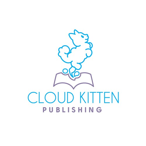 Kitten logo with the title 'Fun logo for a publisher'