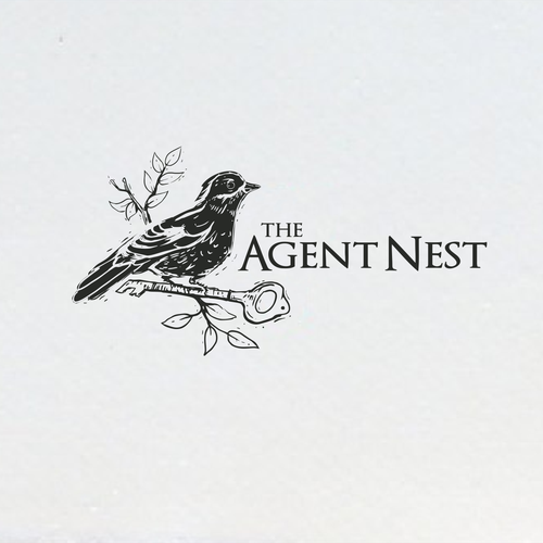 Woodcut design with the title 'linocut digital design style for The Agent Nest'