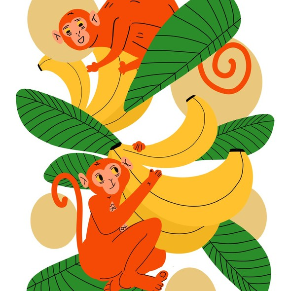 Monkey artwork with the title 'monkeys and bananas art'