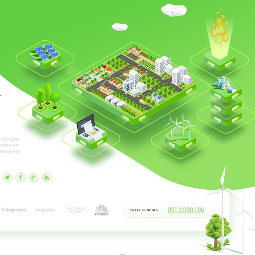 Isometric design with the title 'Blockchain Cryptocurrency ECO Green Company'