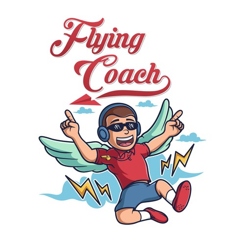 Graphic t-shirt with the title 'Flying Coach'