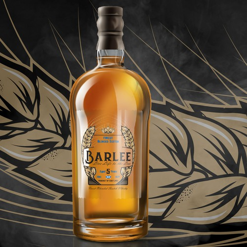 Whiskey label with the title 'Bold Logo Label Design for Barlee'