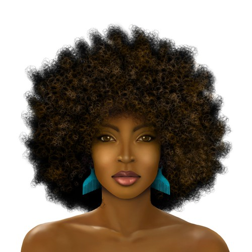 Realistic illustration with the title 'Woman with Afro'
