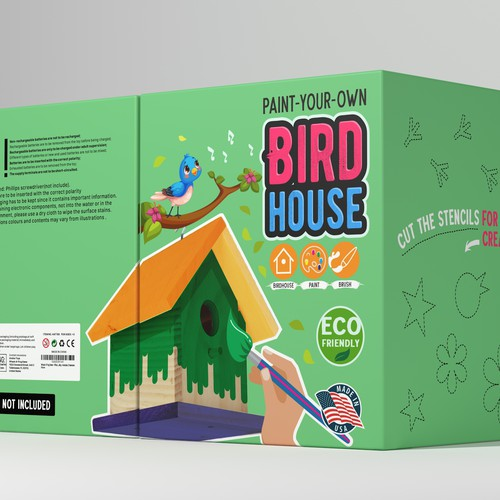 Toy packaging with the title 'BIRDHOUSE with paint'