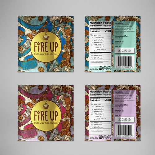 Packet packaging with the title 'Fire Up Coffee'