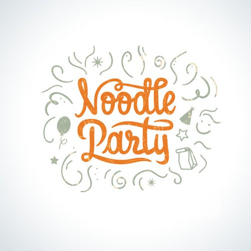 Noodle logo with the title 'Fun and modern logo for the food bar.'