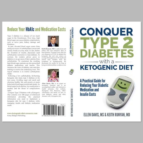 Guide book cover with the title 'Create a Diabetes Book Cover with Strong Typography'