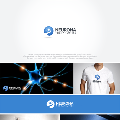Mind design with the title 'Create a stunning logo Neurona, a company focused on interneuron cell-based therapies'