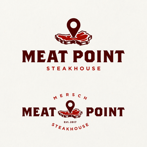 Meat logo with the title 'Logo for Meat Point Steakhouse.'