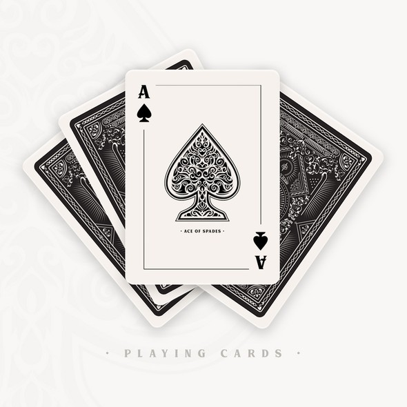 Filigree design with the title 'Playing Cards'