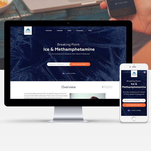 Mobile responsive design with the title 'Landing Page Design for Conferences and Seminars'