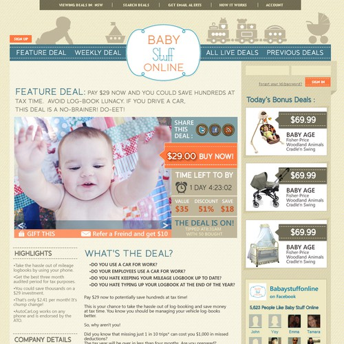 Baby website with the title 'Baby Stuff Online needs a new website design'