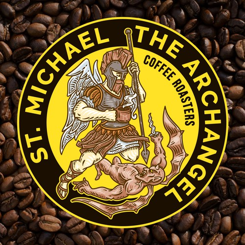 Angel logo with the title 'St. Michael The Archangel Coffee Roasters'