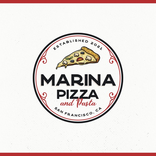 Pasta logo with the title 'Marina Pizza and Pasta Logo Contest'