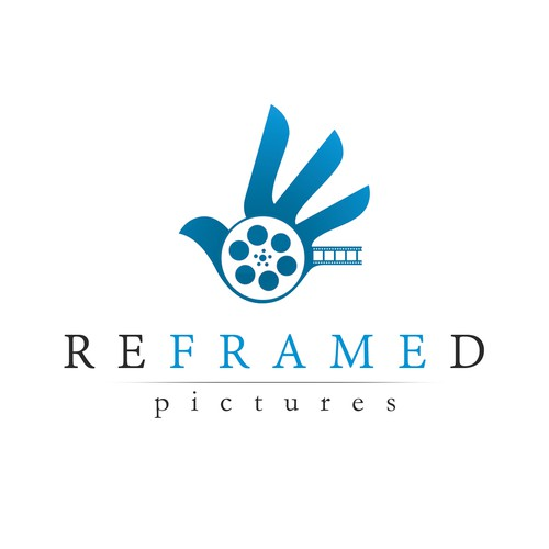Film reel logo with the title 'Logo for Reframed Pictures'