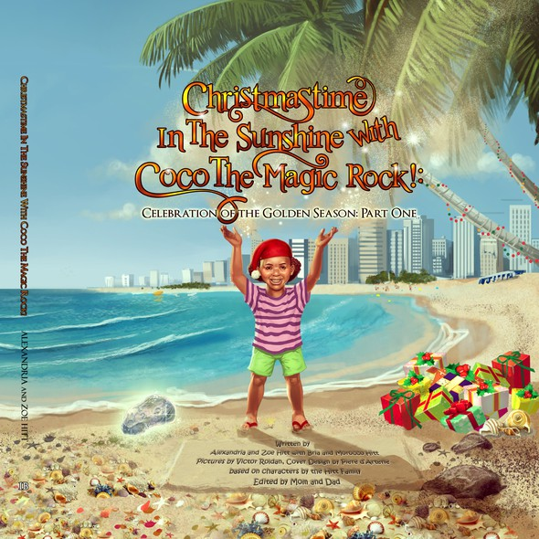 Beach book cover with the title 'Kids book cover design'
