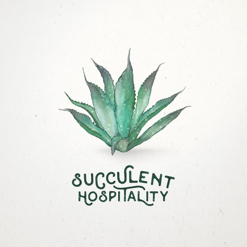 Agave logo with the title 'Watercolor logo design for restaurant'