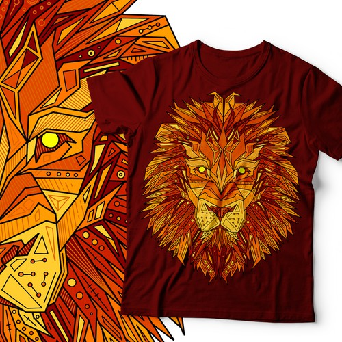Neon design with the title 'Lion'