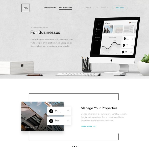 Community website with the title 'Website Design for Neighbouring Spaces'