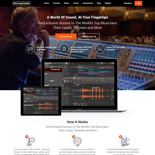 Mobile app website with the title 'Ecommerce Website Music/Loops Site'