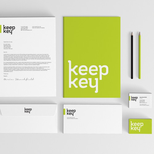 Crisp design with the title 'Clean stationery design for keep key'