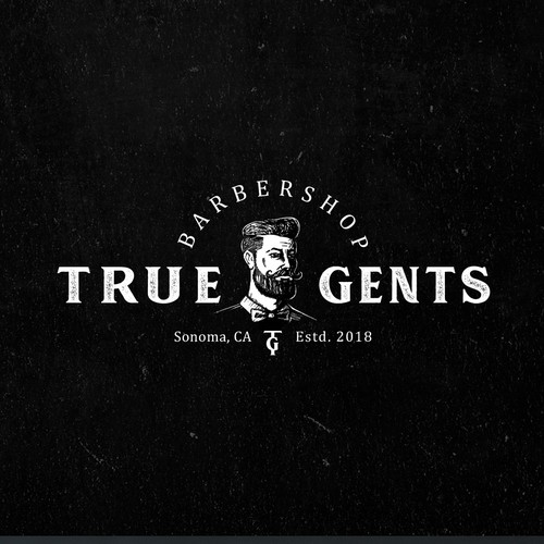 Barber design with the title 'True Gents Barbershop'