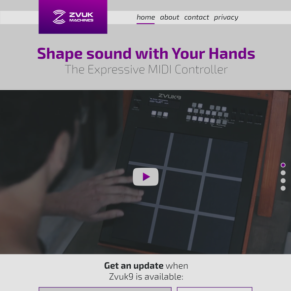 Purple and gray design with the title 'Minimalist landing page design'