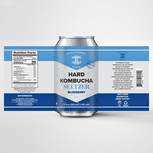 Kombucha label with the title 'Hard Kombucha Seltzer'