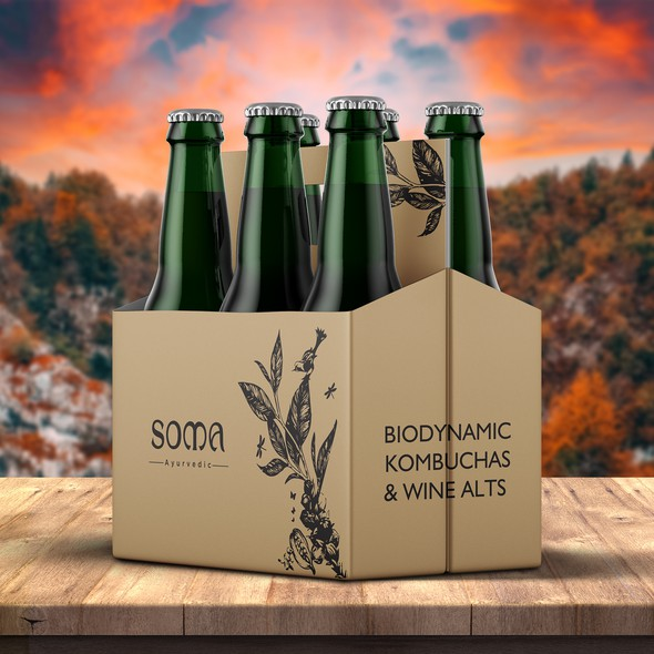 Wine bottle design with the title 'Biodynamic Kombuchas & Wine Bottle Pack'