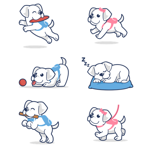 Puppy design with the title 'Paws Cle poses character'
