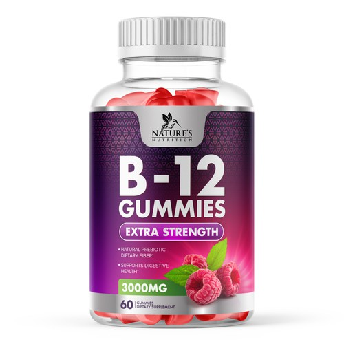 Yellow and purple design with the title 'B12 Raspberry Gummies Label Design'