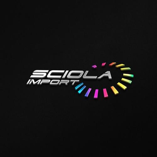 Black design with the title 'Sciola import'
