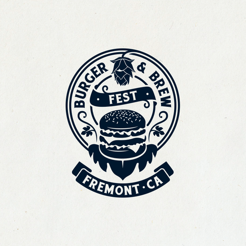 Festival logo with the title 'Burger & Brew Fest Logo '