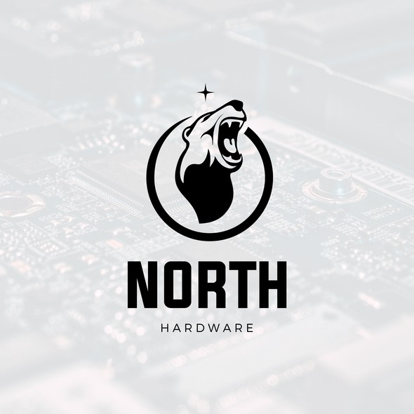 Bear head logo with the title 'North Hardware'