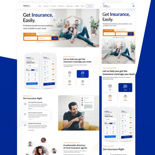 Insurance website with the title 'Engaging and professional insurance website re-design'