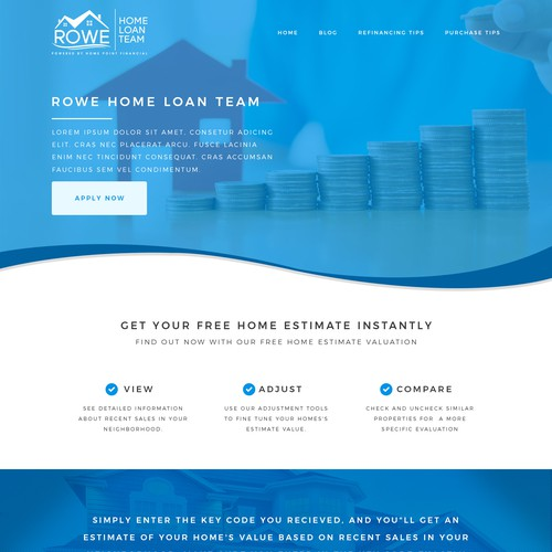 House website with the title 'Clean web design for a tech savy mortgage company.'