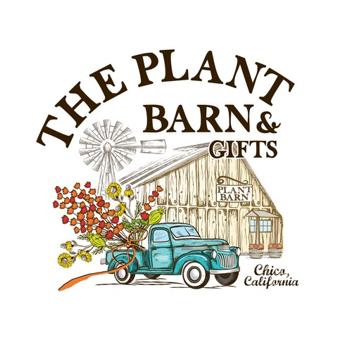 Car service logo with the title 'Retro logo design for The plant barn and gifts'