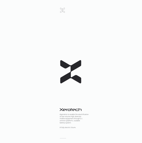 Clean logo with the title 'A futuristic-looking mark vaguely based on the X letter for a battery tech company'