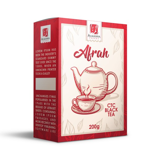 Red packaging with the title 'Tea Package Design'