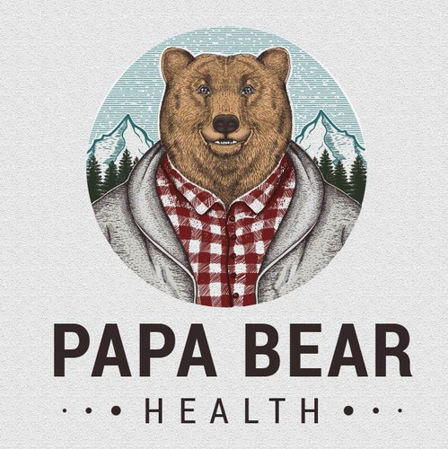 Grizzly design with the title 'PAPA BEAR LOGO'