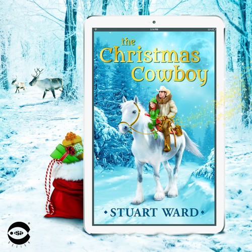 """Children's book cover with the title 'eBook cover and illustration for """"The Christmas Cowboy"""" by Stuart Ward '"""
