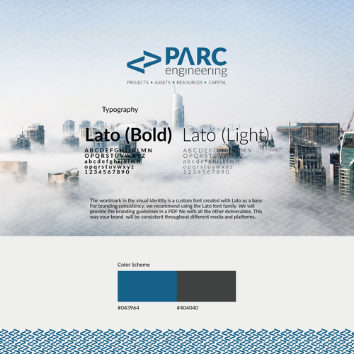 Research brand with the title 'Branding for PARC Engineering'
