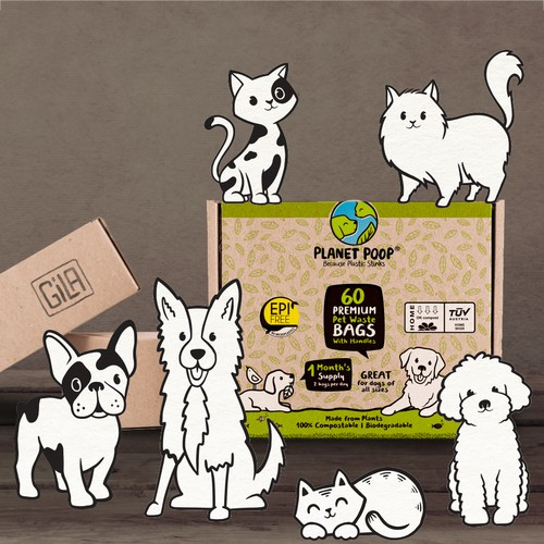 Organic food packaging with the title 'Packaging design/ pet industry'