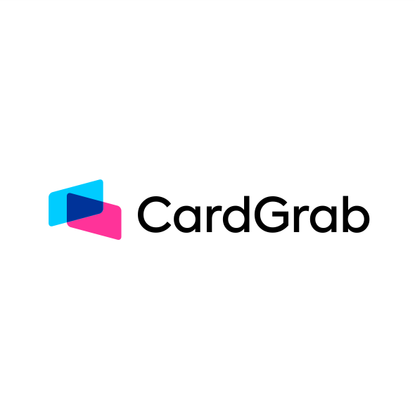 Credit card logo with the title 'card overlap concept'