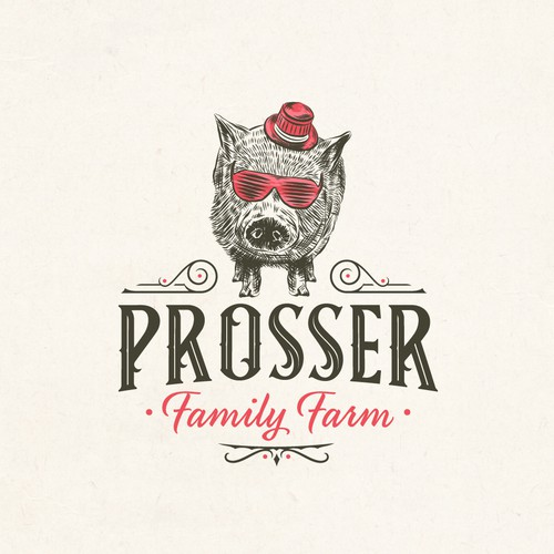 Farm logo with the title 'Prosser Fram logo concept'
